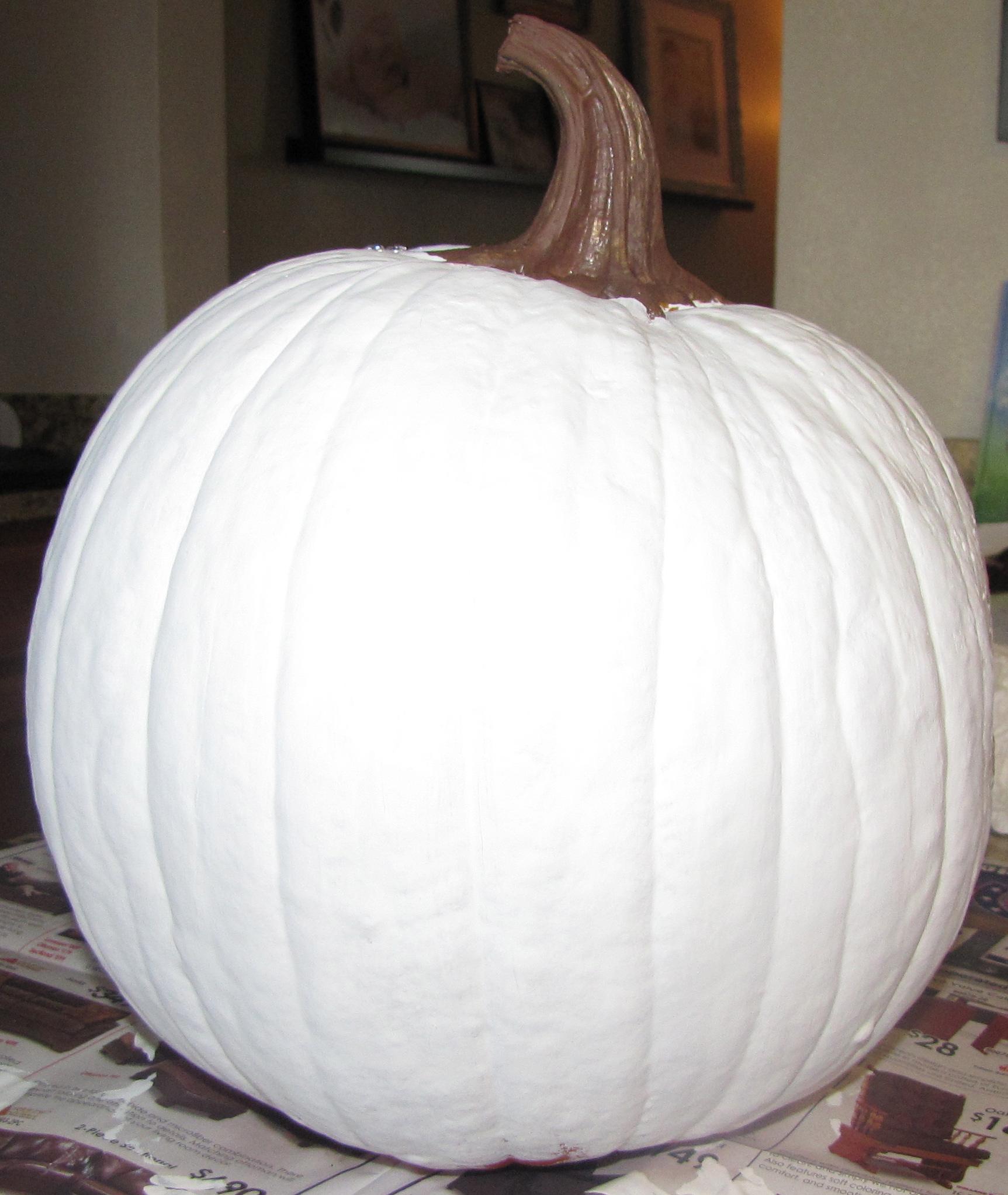 white painted pumpkin - Large Plastic Pumpkins